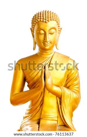 Thai Buddha Golden Statue. Buddha Statue in Thailand - stock photo