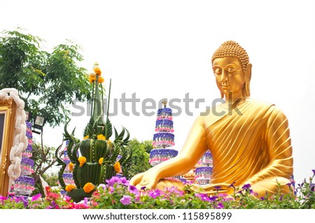 Thai Buddha Golden Statue on white background. This is traditional and generic style in Thailand. No any trademark or restrict matter in this photo. - stock photo