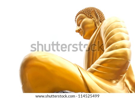 Thai Buddha Golden Statue on white background.This is traditional and generic style in Thailand. No any trademark or restrict matter in this photo. - stock photo