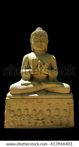 thai buddhism buddha bless statue with clipping paths isolated on black background, front view - stock photo