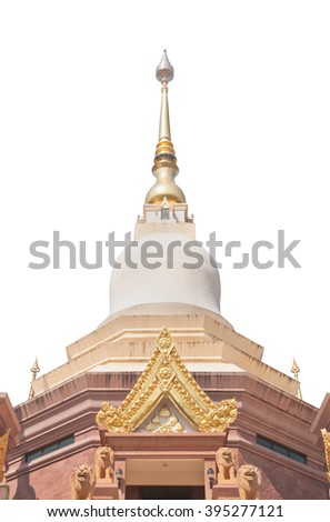 Thai Buddhist style pagoda clipping on white background - stock photo