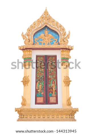Thai Buddhist temple window sculpture, isolated on white background - stock photo