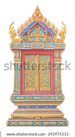 Thai Buddhist temple window sculpture isolated on white background - stock photo