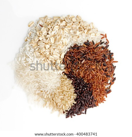 Thai cargo rice is the creation of the thai rice eaperts and Japanese Brown rice, Glutionus Mixed whole grain traditional thai rices best rices for healthy  on a white background - stock photo