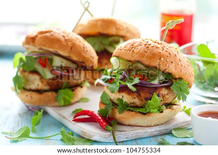 Thai chicken burger with cucumber and sweet chilli sauce