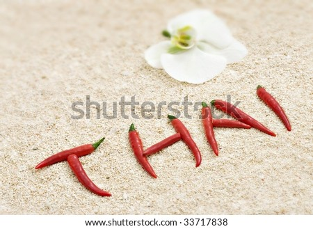 Thai chili on the beach - stock photo