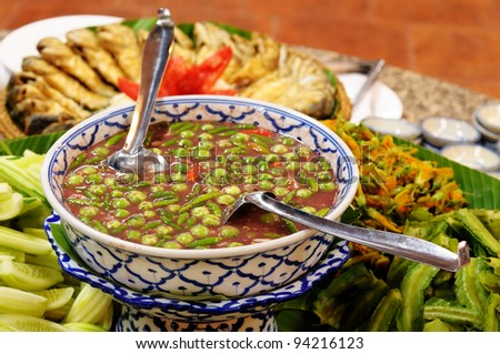 Thai chilli sauce and mixed steamed vegetables, Thai food. - stock photo