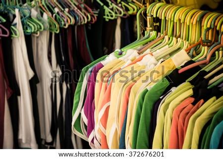 Thai clothes shop at market. - stock photo