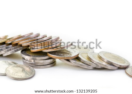 Thai coins laid down on the floor isolated on white. Able to use as background.