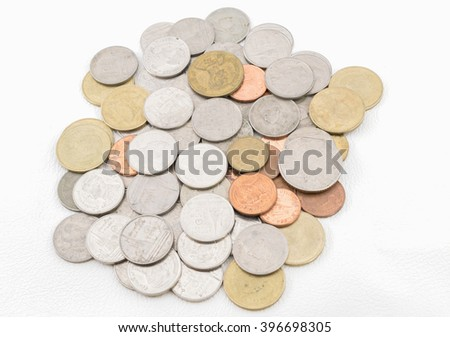 Thai coins money on a white background. - stock photo