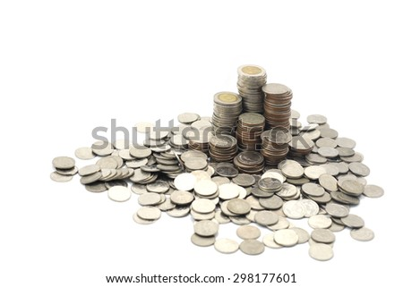 Thai coins on isolated background.