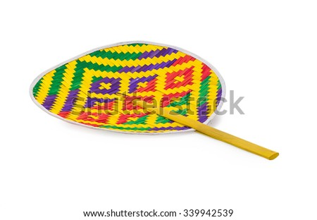 Thai colorful folding fan isolated on white background