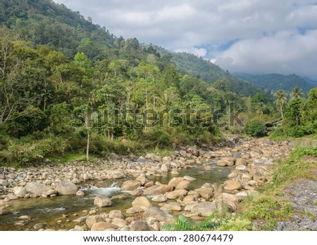 Thai countryside nature background. Rocky creek in Nakhon Si Thammarat, Thailand