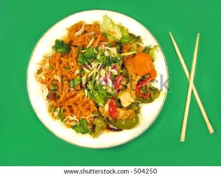 Thai cuisine and chopsticks - stock photo