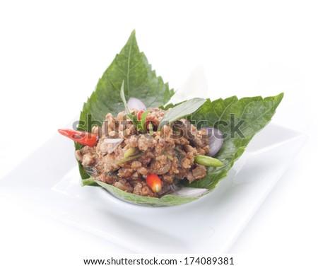 thai cuisine,Larb Moo, spicy pork salad.  - stock photo