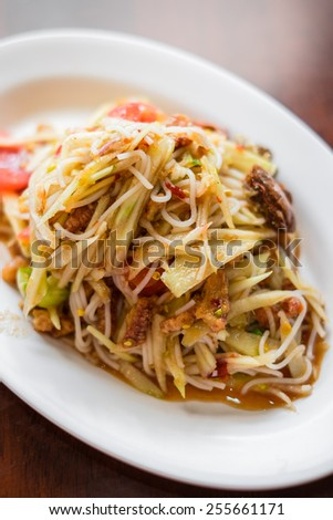 "Thai cuisine ""somtam"" or papaya salad"