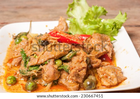 thai cuisine ,Stir Fried Wild Boar with Red Curry  - stock photo