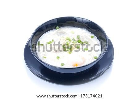 Thai cuisine , Thai rice porridge with pork - stock photo