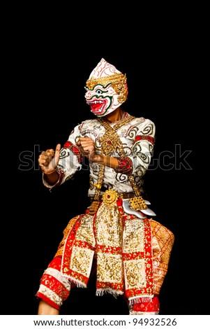 """Thai Cultural Show Hanuman """"Khon-Thai classical masked ballet , Thailand. Ramayana Story"""" - stock photo"""