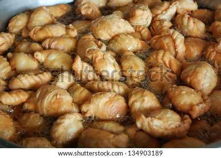 thai curry puff in dish  - stock photo
