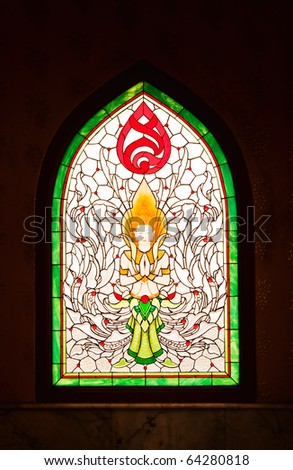 thai design on window isolated - stock photo