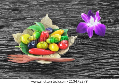 Thai dessert made from soy beans made in the form of fruits - stock photo