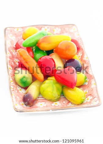 Thai dessert made from soy beans made in the form of fruits and vegetables.