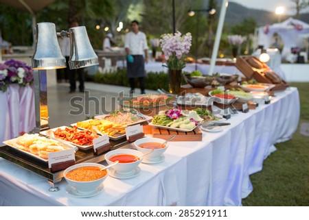 thai dessert on buffet line - stock photo
