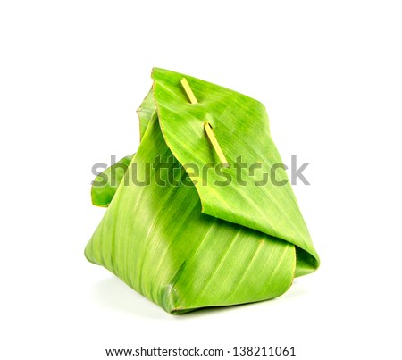 Thai dessert package with banana leaf isolate