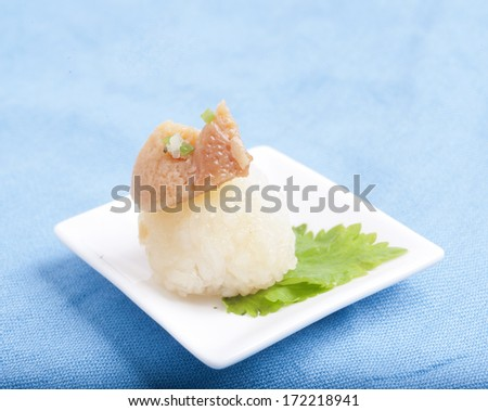 Thai dessert, Sticky rice with steamed custard  - stock photo