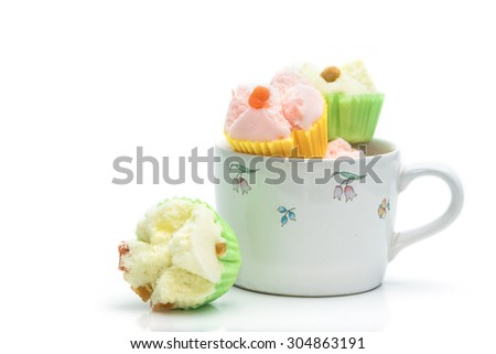 Thai dessert, thai steamed cup cake or cotton cake in cup - stock photo