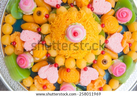 Thai dessert use for wedding ceremony with auspicious name and good meaning - stock photo