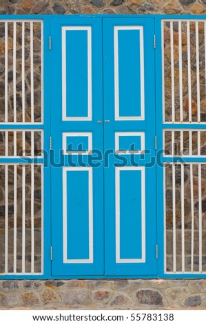 Thai door - stock photo
