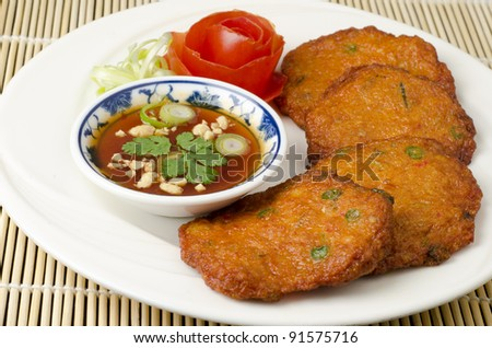 Thai fish cakes a famous appetizer - stock photo