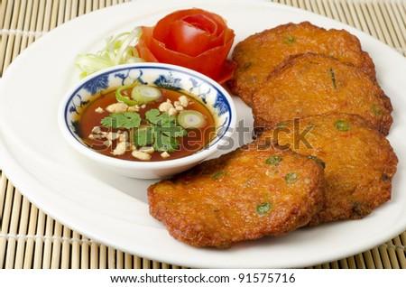Thai fish cakes a famous appetizer - stock photo