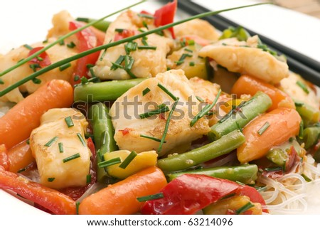 Thai Fish with Vegetable - stock photo