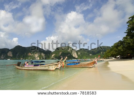 Thai fishermans boat on the Island of Ko Phi Phi