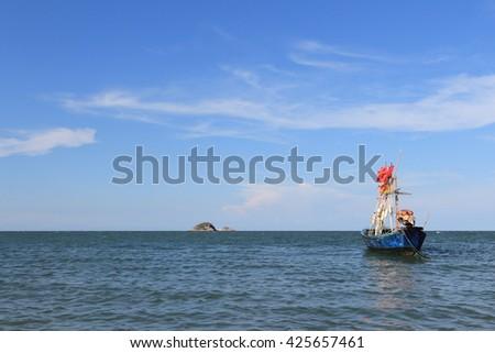 Thai fishing boat ,hua hin beach, Thailand - stock photo