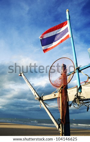 Thai flag against a blue sky - stock photo