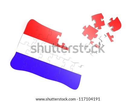 Thai flag puzzle - stock photo
