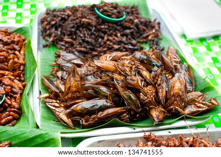 Thai food at market. Fried insects grasshopper for snack - stock photo