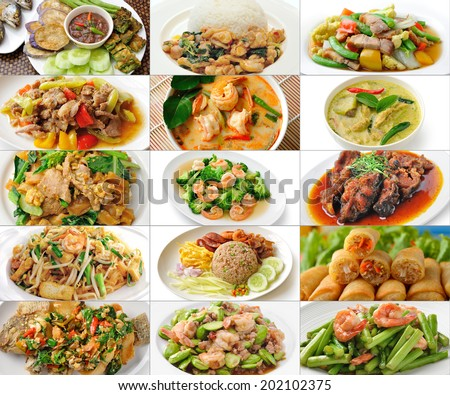 thai food collage - stock photo