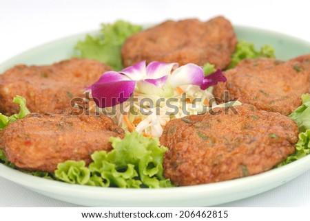 Thai Food Fish Cake (Tod Mun Pla) - stock photo