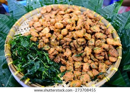 Thai Food Fish Cake (Tod Mun Pla Krai) - stock photo