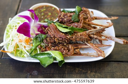 thai  food fried duck mouth asia chef