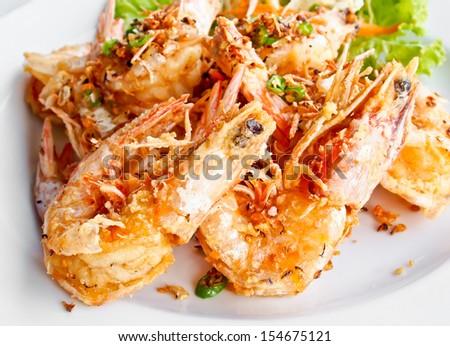 Thai food, fried prawns with salt and chili - stock photo