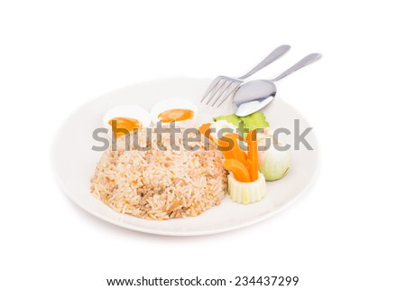 Thai Food, Fried rice with Mixed vegetable with chilli paste dip isolate on white background - stock photo