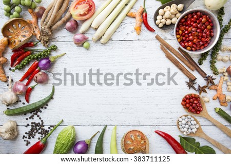 Thai food ingredients, vegetable, spicy taste - stock photo
