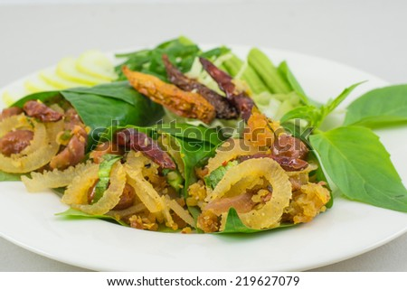 Thai food is made from pork and sauce. - stock photo
