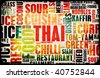 Thai Food Menu Art Background in Grunge - stock photo
